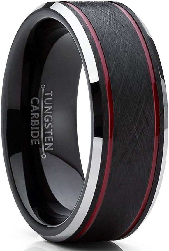 Tungsten Carbide Black Brushed Textured Center 8mm Comfort Fit Ring
