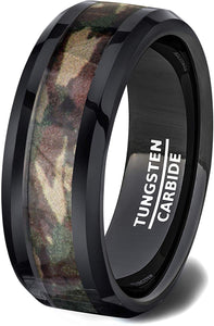 Tungsten Ring Black Camoflauge Polished Dome 8mm Comfort Fit