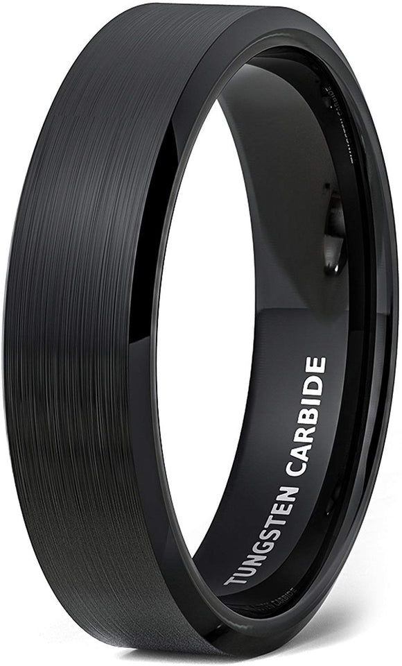 6mm Black Brushed Tungsten Ring Beveled Edge Comfort Fit