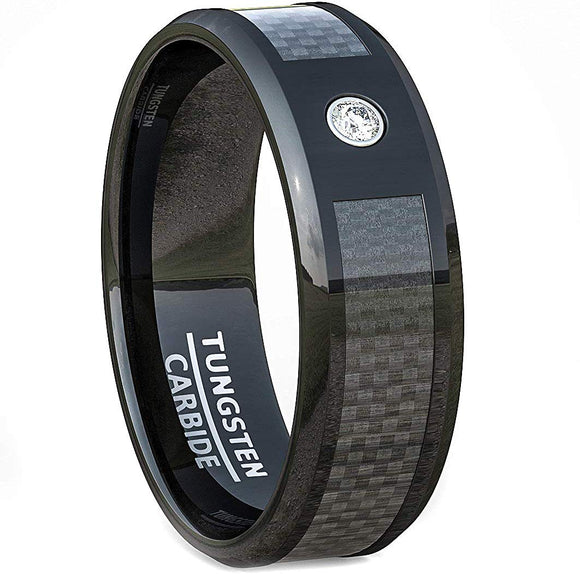 8mm Polished Finish Carbon Fiber Surface White Sapphire Tungsten Carbide Ring Comfort Fit Black