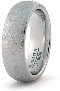 8mm Tungsten Ring with Imitation Meteorite Texture Dome Comfort Fit