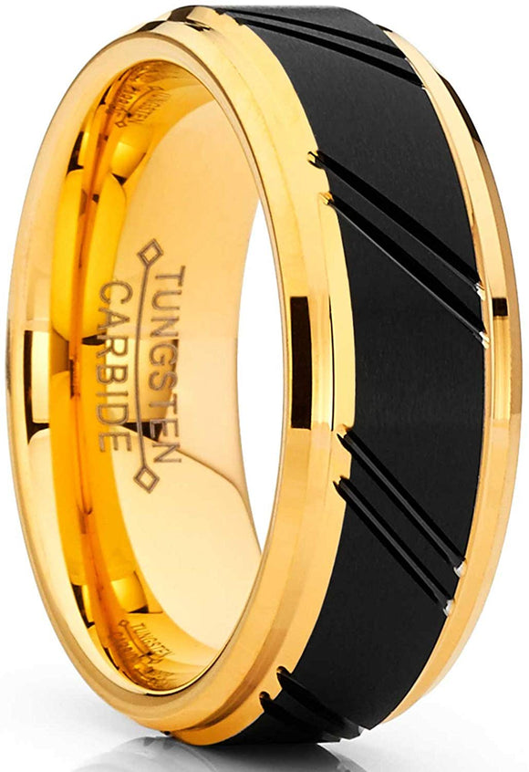 Duo Tungsten Carbide Black and Gold Tone Ring Comfort Fit 8mm