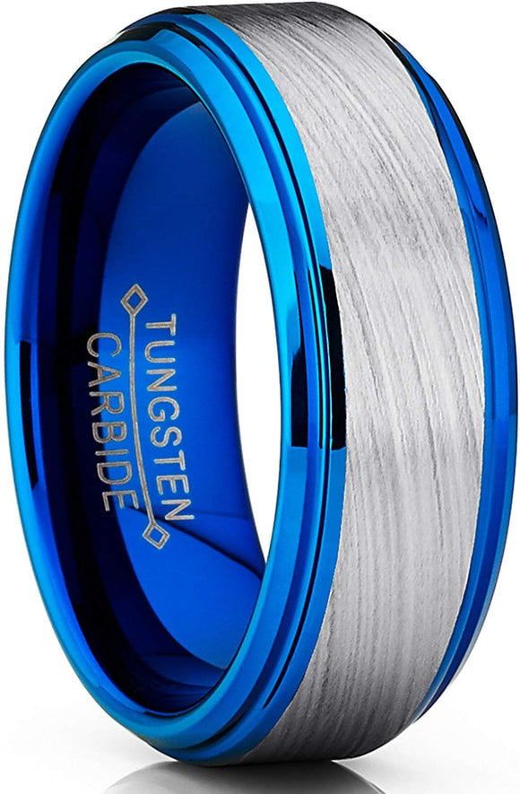 Blue Tungsten Carbide Vortex Brushed Comfort Fit 8mm