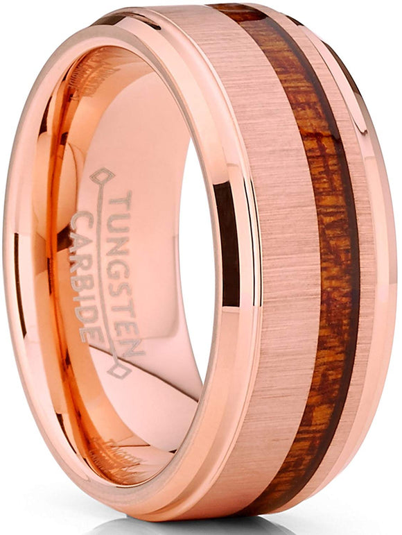 Tungsten Carbide Rose Tone Plated Wedding Band Ring Real Koa Wood Comfort Fit