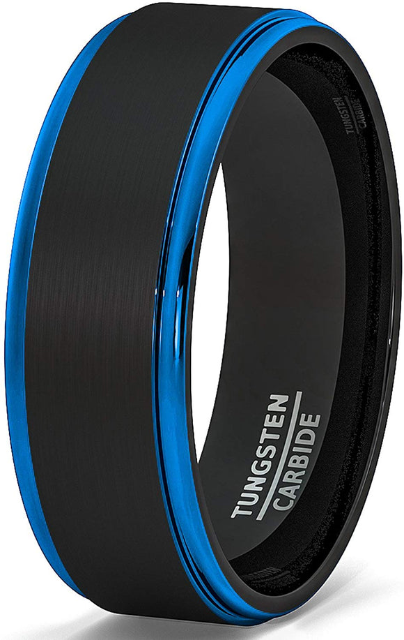 Two Tone Brushed Black Tungsten Ring 8mm Blue Step Edge Comfort Fit