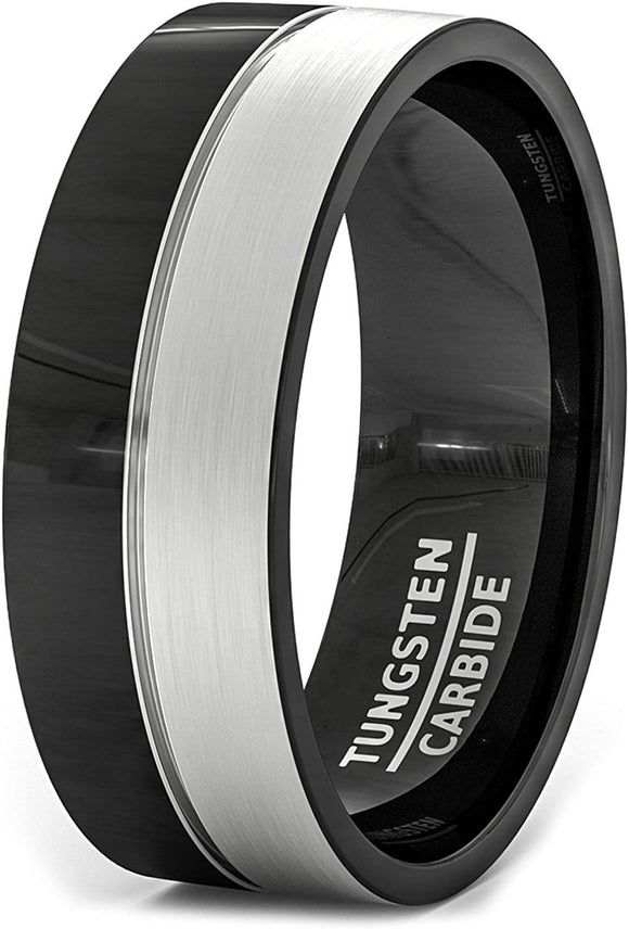 Black Tungsten Center Thin Inlay Mens Ring Flat Edges Comfort Fit
