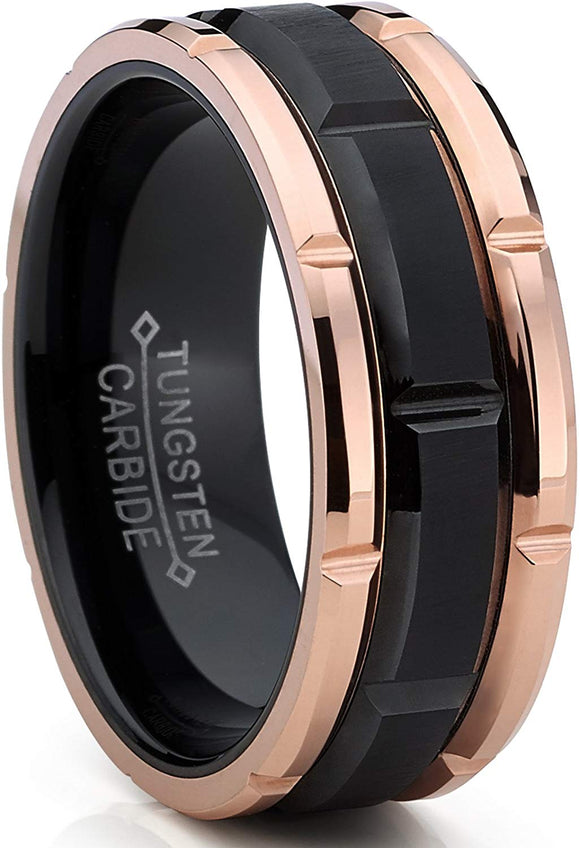 Tungsten Carbide Men's Black and RoseTone Brushed Grooved Comfort Fit 8mm