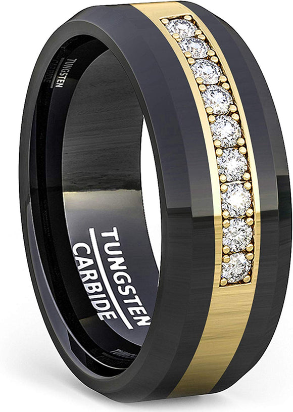 8mm Polished Tungsten Ring Inlay with White Sapphire Comfort Fit