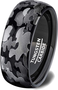 Tungsten Ring Black Soldier Style Camoflauge Polished Dome 8mm Comfort Fit