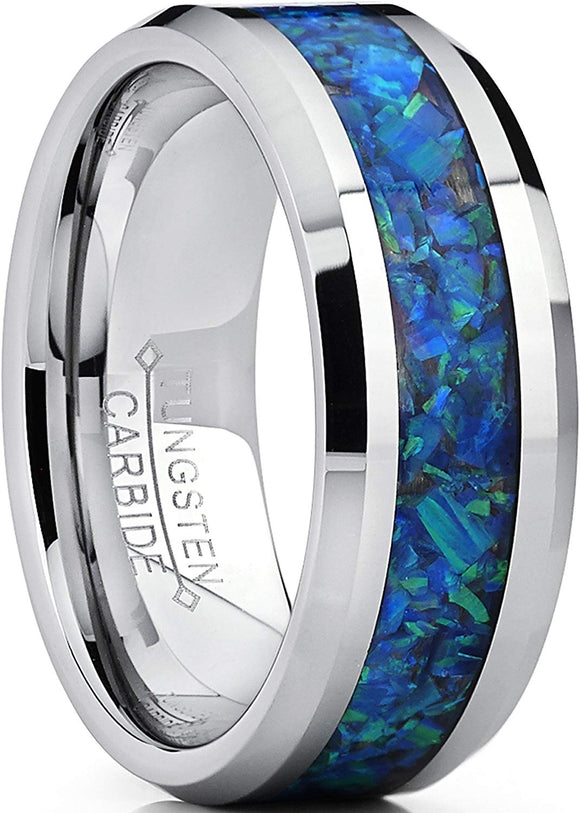 8MM Tungsten Carbide Ring with Blue Green Lab Created Opal Inlay