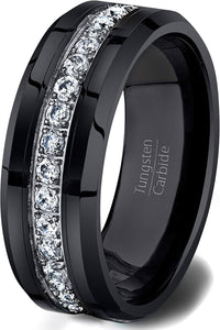 Black 8mm Tungsten Ring Fully Stacked White Sapphire Beveled Edge Comfort Fit