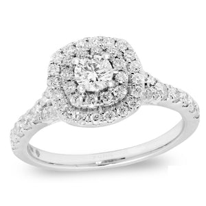 14KW 1ctw 0.30ctr VS-VVS DIAMOND SPLIT SHANK DOUBLE HALO PAVE ENGAGEMENT RING - PORRITI BRIDAL