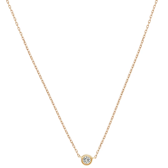 14K Yellow Gold (0.12) 1/8CTW Single Bezel Set VS Diamond Necklace (16-20 in) Adjustable