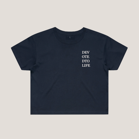 Devoted to Life Cropped Tee - Navy