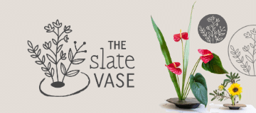 The Slate Vase logo with deluxe and small vase arrangements