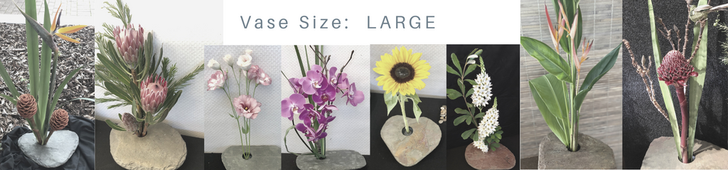 Arrangements in large sized slate vases