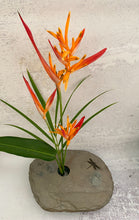 Load image into Gallery viewer, Haliconias arrangement in large Slate Vase with DRAGONFLY engraving