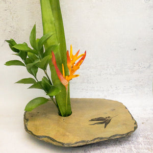 Gumleaf slate vase with arrangement