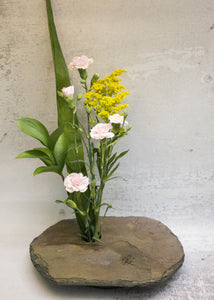 Floral arrangement in large Slate Vase with LOVE engraving