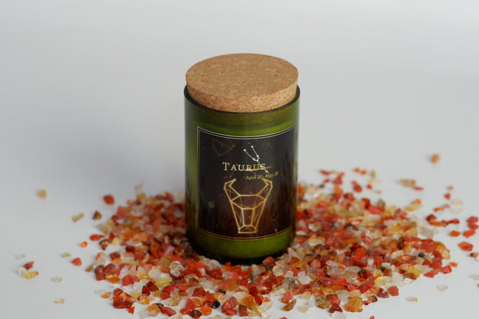 Taurus. Zodiac Wine Candles with crystals. - Candleholic Shop