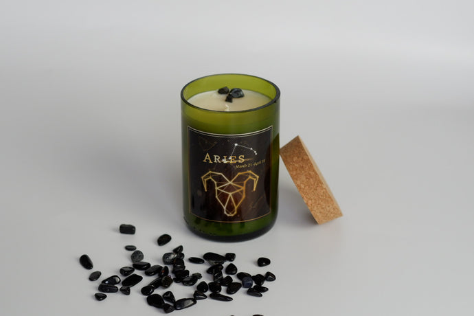 Aries. Handmade Zodiac Wine Candles with crystals. - Candleholic Shop