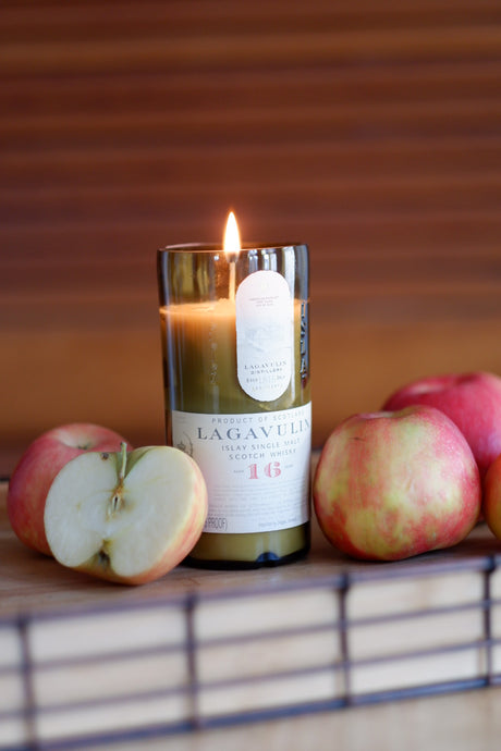 Handmade Soy Candle in Whisky Bottle Lagavulin - Candleholic Shop
