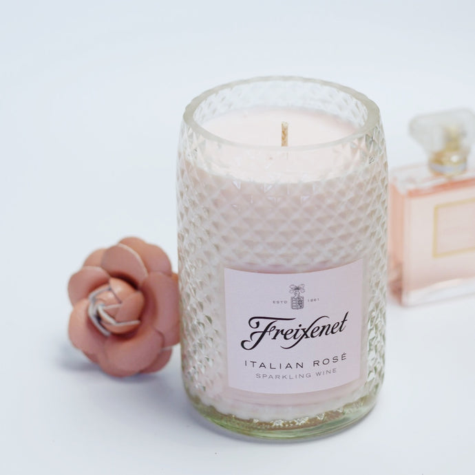 Freixenet Soy Candle in Rose bottle - Candleholic Shop