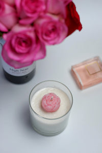 St. Valentine's Day Soy Candle with Pink Flower - Candleholic Shop