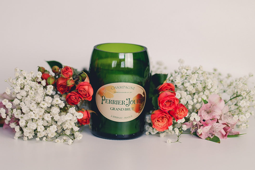 Handmade Soy Candle in Champagne Bottle Perrier Jouet - Candleholic Shop