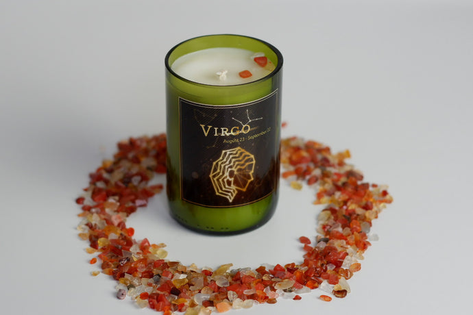 Virgo.Handmade Zodiac Candle with crystals - Candleholic Shop