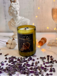 Aquarius. Handmade Zodiac Candle with crystals - Candleholic Shop