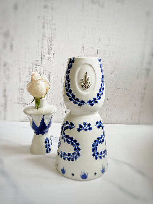 Azul Upcycled Tequila Bottle into a vase and a candle holder - Candleholic Shop