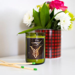 Capricorn. Handmade Zodiac Candle with crystals - Candleholic Shop