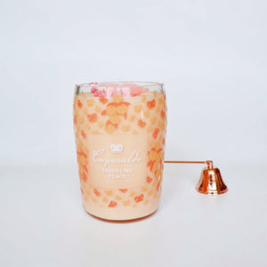 Peach Bubbles Champagne Bottle Candle - Candleholic Shop