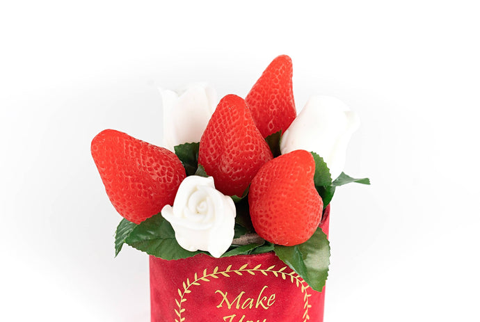 Handmade Strawberries and White Roses Soap Bouquet in red velvet box - Candleholic Shop