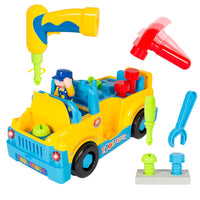 Construction Bulldozer Dump Excavator Take-A-Part Truck with Drill and Tools, Light and Music, Bump and Go Action Toy