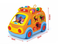 Innovative Vehicle Happy Animal Pet Bus Toy with Music & Lights & Blocks Learning Toy