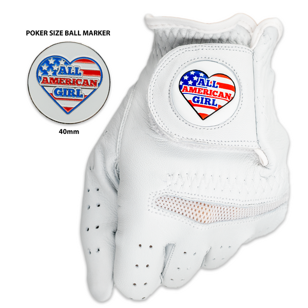 All American Girl Golf Glove with Matching Ball Marker