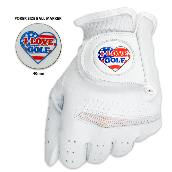 I Love Golf Golf Glove With Matching Ball Marker