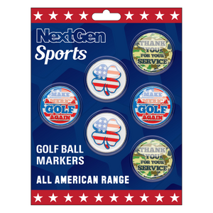 Make America Golf Again, 4 Leaf Clover, & Thank You For Your Service Ball Markers