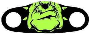 Neon bulldog printed on a face mask with a black background