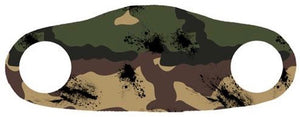 Face mask with a woodland camoflauge print