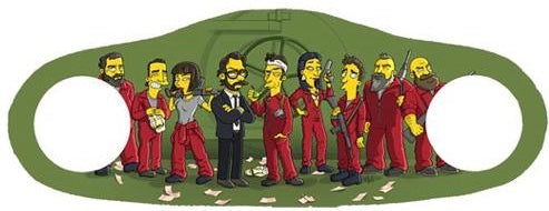 Money heist simpsons characters printed on a green face mask