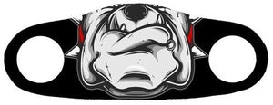 Face mask with a bulldog printed on it with a black background