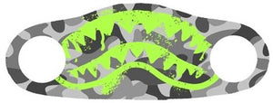 Neon shark teeth printed on a face mask with a grey background