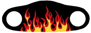 Face mask with red flames printed on a black background