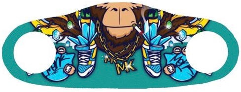 Monkey wearing a chain smoking a cigarette printed on a blue face mask