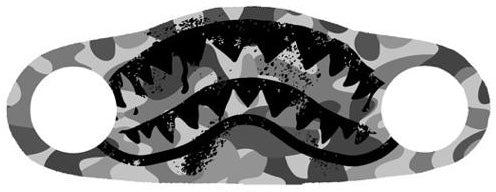 Face mask with black shark teeth on a grey camoflauge background