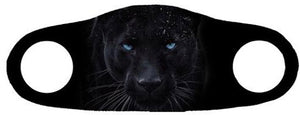 Face mask with a black jaguar's face printed on it