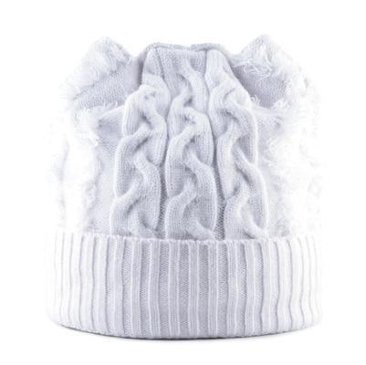Bonnet Chat Tricot Blanc